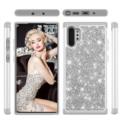 Glitter Rhinestone Bling Shock Absorbing Hybrid Defender Rugged Phone Case Cover for Samsung Galaxy Note 10+ (6.75 inch) / Note10 Plus - Gray