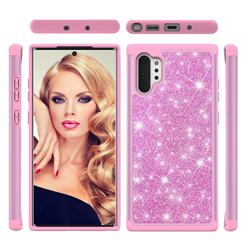 Glitter Rhinestone Bling Shock Absorbing Hybrid Defender Rugged Phone Case Cover for Samsung Galaxy Note 10+ (6.75 inch) / Note10 Plus - Pink