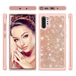 Glitter Rhinestone Bling Shock Absorbing Hybrid Defender Rugged Phone Case Cover for Samsung Galaxy Note 10+ (6.75 inch) / Note10 Plus - Rose Gold