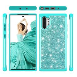 Glitter Rhinestone Bling Shock Absorbing Hybrid Defender Rugged Phone Case Cover for Samsung Galaxy Note 10+ (6.75 inch) / Note10 Plus - Green