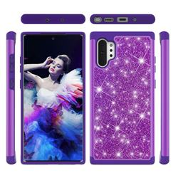 Glitter Rhinestone Bling Shock Absorbing Hybrid Defender Rugged Phone Case Cover for Samsung Galaxy Note 10+ (6.75 inch) / Note10 Plus - Purple