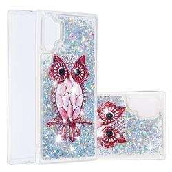 Seashell Owl Dynamic Liquid Glitter Quicksand Soft TPU Case for Samsung Galaxy Note 10+ (6.75 inch) / Note10 Plus