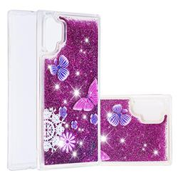 Purple Flower Butterfly Dynamic Liquid Glitter Quicksand Soft TPU Case for Samsung Galaxy Note 10+ (6.75 inch) / Note10 Plus