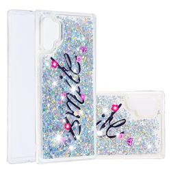 Smile Flower Dynamic Liquid Glitter Quicksand Soft TPU Case for Samsung Galaxy Note 10+ (6.75 inch) / Note10 Plus