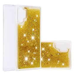 Dynamic Liquid Glitter Quicksand Sequins TPU Phone Case for Samsung Galaxy Note 10+ (6.75 inch) / Note10 Plus - Golden
