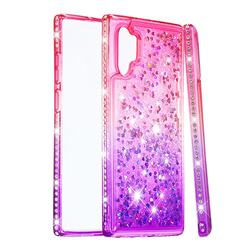 Diamond Frame Liquid Glitter Quicksand Sequins Phone Case for Samsung Galaxy Note 10+ (6.75 inch) / Note10 Plus - Pink Purple