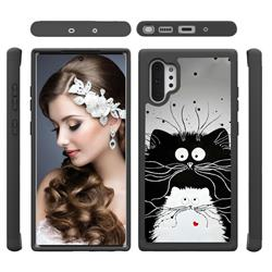 Black and White Cat Shock Absorbing Hybrid Defender Rugged Phone Case Cover for Samsung Galaxy Note 10+ (6.75 inch) / Note10 Plus