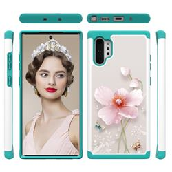 Pearl Flower Shock Absorbing Hybrid Defender Rugged Phone Case Cover for Samsung Galaxy Note 10+ (6.75 inch) / Note10 Plus