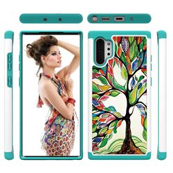 Multicolored Tree Shock Absorbing Hybrid Defender Rugged Phone Case Cover for Samsung Galaxy Note 10+ (6.75 inch) / Note10 Plus