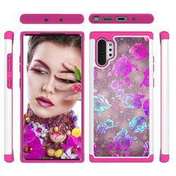 peony Flower Shock Absorbing Hybrid Defender Rugged Phone Case Cover for Samsung Galaxy Note 10+ (6.75 inch) / Note10 Plus