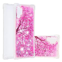 Pink Cherry Blossom Dynamic Liquid Glitter Sand Quicksand Star TPU Case for Samsung Galaxy Note 10+ (6.75 inch) / Note10 Plus