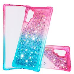 Rainbow Gradient Liquid Glitter Quicksand Sequins Phone Case for Samsung Galaxy Note 10+ (6.75 inch) / Note10 Plus - Pink Blue