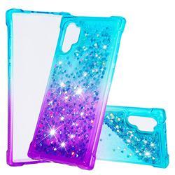 Rainbow Gradient Liquid Glitter Quicksand Sequins Phone Case for Samsung Galaxy Note 10+ (6.75 inch) / Note10 Plus - Blue Purple