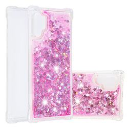 Dynamic Liquid Glitter Sand Quicksand TPU Case for Samsung Galaxy Note 10+ (6.75 inch) / Note10 Plus - Pink Love Heart