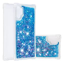Dynamic Liquid Glitter Sand Quicksand TPU Case for Samsung Galaxy Note 10+ (6.75 inch) / Note10 Plus - Blue Love Heart