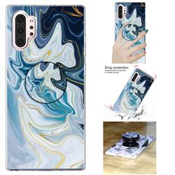 Blue Gold Line Marble Pop Stand Holder Varnish Phone Cover for Samsung Galaxy Note 10 Pro (6.75 inch) / Note 10+