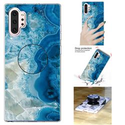 Sea Blue Marble Pop Stand Holder Varnish Phone Cover for Samsung Galaxy Note 10 Pro (6.75 inch) / Note 10+