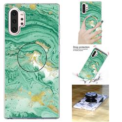 Dark Green Marble Pop Stand Holder Varnish Phone Cover for Samsung Galaxy Note 10+ (6.75 inch) / Note10 Plus