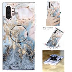 Golden Gray Marble Pop Stand Holder Varnish Phone Cover for Samsung Galaxy Note 10 Pro (6.75 inch) / Note 10+