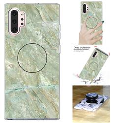 Light Green Marble Pop Stand Holder Varnish Phone Cover for Samsung Galaxy Note 10+ (6.75 inch) / Note10 Plus