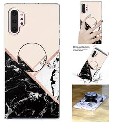 Black White Marble Pop Stand Holder Varnish Phone Cover for Samsung Galaxy Note 10+ (6.75 inch) / Note10 Plus