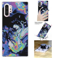Black Purple Marble Pop Stand Holder Varnish Phone Cover for Samsung Galaxy Note 10 Pro (6.75 inch) / Note 10+