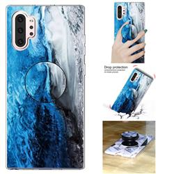 Dark Blue Marble Pop Stand Holder Varnish Phone Cover for Samsung Galaxy Note 10 Pro (6.75 inch) / Note 10+