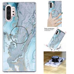 Silver Blue Marble Pop Stand Holder Varnish Phone Cover for Samsung Galaxy Note 10+ (6.75 inch) / Note10 Plus