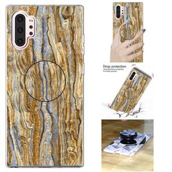 Brown Golden Marble Pop Stand Holder Varnish Phone Cover for Samsung Galaxy Note 10 Pro (6.75 inch) / Note 10+