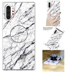 White Marble Pop Stand Holder Varnish Phone Cover for Samsung Galaxy Note 10+ (6.75 inch) / Note10 Plus