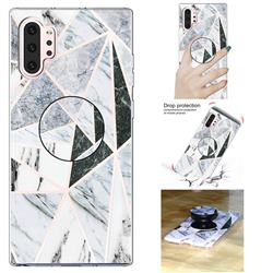 Triangle Marble Pop Stand Holder Varnish Phone Cover for Samsung Galaxy Note 10+ (6.75 inch) / Note10 Plus