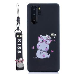 Black Flower Hippo Soft Kiss Candy Hand Strap Silicone Case for Samsung Galaxy Note 10+ (6.75 inch) / Note10 Plus