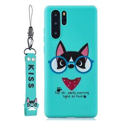 Green Glasses Dog Soft Kiss Candy Hand Strap Silicone Case for Samsung Galaxy Note 10 Pro (6.75 inch) / Note 10+