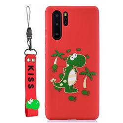 Red Dinosaur Soft Kiss Candy Hand Strap Silicone Case for Samsung Galaxy Note 10+ (6.75 inch) / Note10 Plus