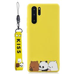 Yellow Bear Family Soft Kiss Candy Hand Strap Silicone Case for Samsung Galaxy Note 10+ (6.75 inch) / Note10 Plus