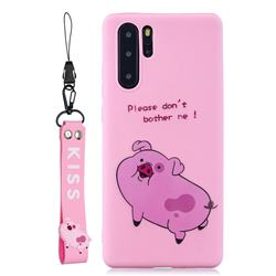 Pink Cute Pig Soft Kiss Candy Hand Strap Silicone Case for Samsung Galaxy Note 10 Pro (6.75 inch) / Note 10+