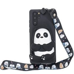 Cute Panda Neck Lanyard Zipper Wallet Silicone Case for Samsung Galaxy Note 10+ (6.75 inch) / Note10 Plus