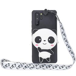 White Panda Neck Lanyard Zipper Wallet Silicone Case for Samsung Galaxy Note 10+ (6.75 inch) / Note10 Plus