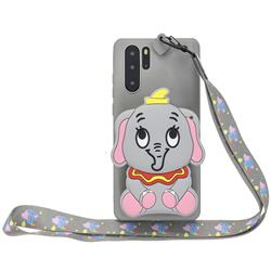 Gray Elephant Neck Lanyard Zipper Wallet Silicone Case for Samsung Galaxy Note 10+ (6.75 inch) / Note10 Plus
