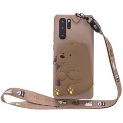 Brown Bear Neck Lanyard Zipper Wallet Silicone Case for Samsung Galaxy Note 10+ (6.75 inch) / Note10 Plus