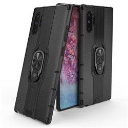 Alita Battle Angel Armor Metal Ring Grip Shockproof Dual Layer Rugged Hard Cover for Samsung Galaxy Note 10+ (6.75 inch) / Note10 Plus - Black