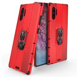 Alita Battle Angel Armor Metal Ring Grip Shockproof Dual Layer Rugged Hard Cover for Samsung Galaxy Note 10+ (6.75 inch) / Note10 Plus - Red