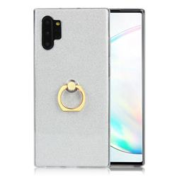 Luxury Soft TPU Glitter Back Ring Cover with 360 Rotate Finger Holder Buckle for Samsung Galaxy Note 10+ (6.75 inch) / Note10 Plus - White