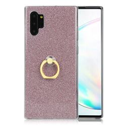 Luxury Soft TPU Glitter Back Ring Cover with 360 Rotate Finger Holder Buckle for Samsung Galaxy Note 10+ (6.75 inch) / Note10 Plus - Pink