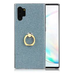 Luxury Soft TPU Glitter Back Ring Cover with 360 Rotate Finger Holder Buckle for Samsung Galaxy Note 10+ (6.75 inch) / Note10 Plus - Blue
