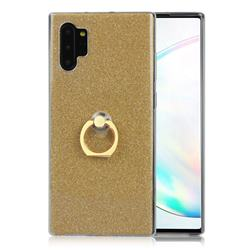 Luxury Soft TPU Glitter Back Ring Cover with 360 Rotate Finger Holder Buckle for Samsung Galaxy Note 10+ (6.75 inch) / Note10 Plus - Golden