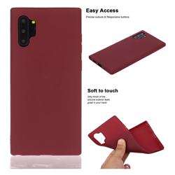 Soft Matte Silicone Phone Cover for Samsung Galaxy Note 10+ (6.75 inch) / Note10 Plus - Wine Red