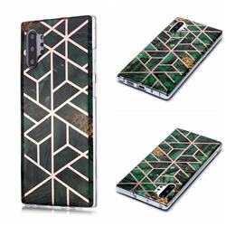 Green Rhombus Galvanized Rose Gold Marble Phone Back Cover for Samsung Galaxy Note 10 Pro (6.75 inch) / Note 10+