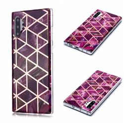 Purple Rhombus Galvanized Rose Gold Marble Phone Back Cover for Samsung Galaxy Note 10 Pro (6.75 inch) / Note 10+