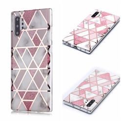 Pink Rhombus Galvanized Rose Gold Marble Phone Back Cover for Samsung Galaxy Note 10 Pro (6.75 inch) / Note 10+